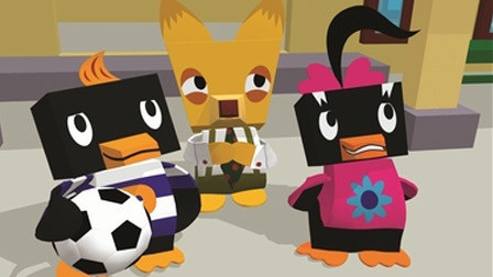Some blocky penguins and a blocky fox playing socker