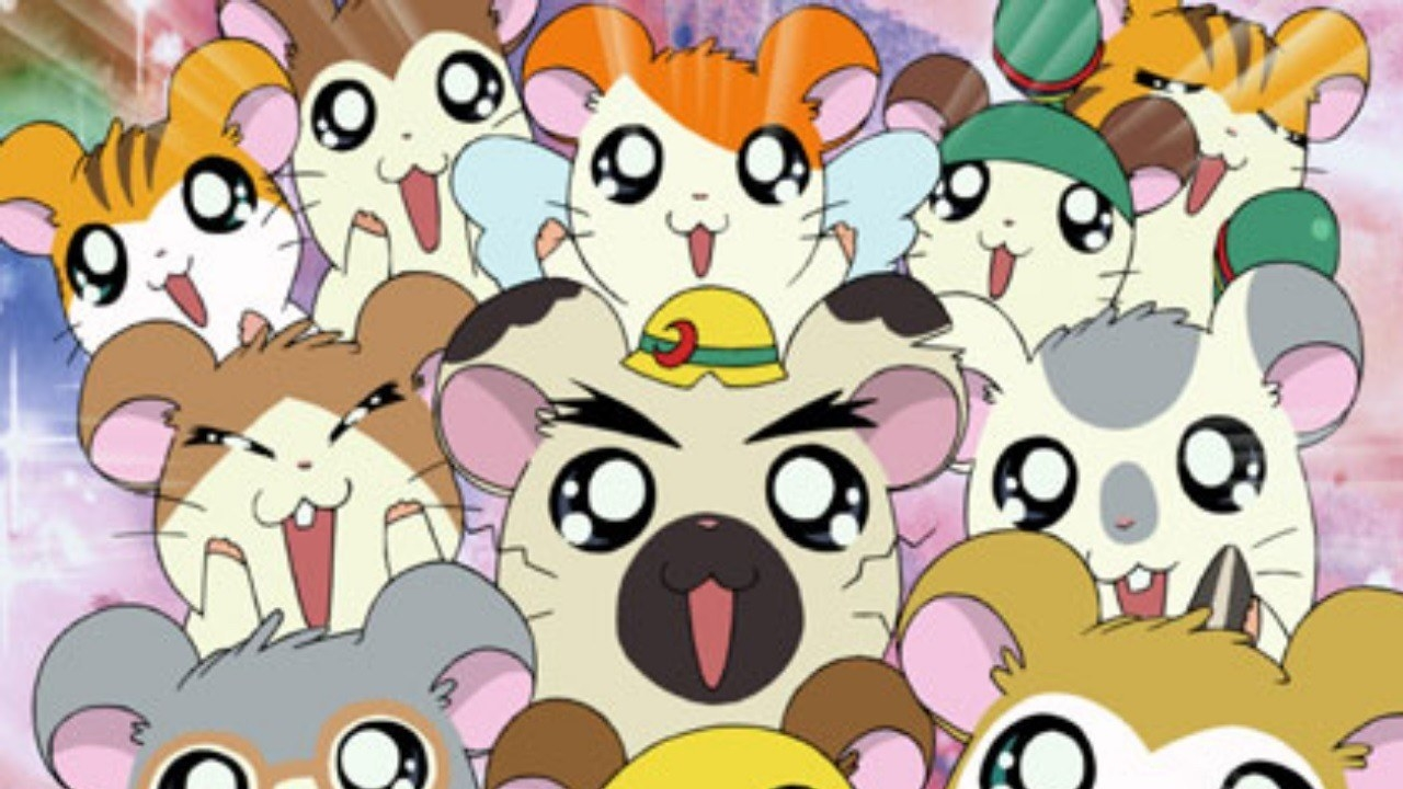 A wide assortment of hamsters with large anime eyes and wide smiles
