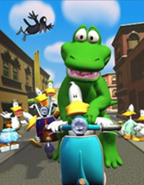 A duck and an alligator riding a moped