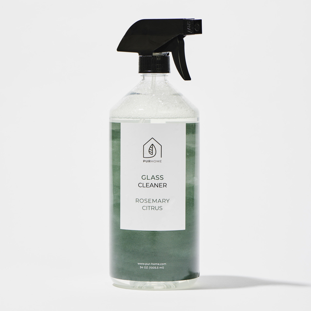 spray bottle of rosemary citrus glass cleaner