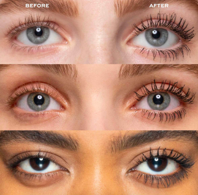 Three shots of models before and after using the Marc Jacobs mascara