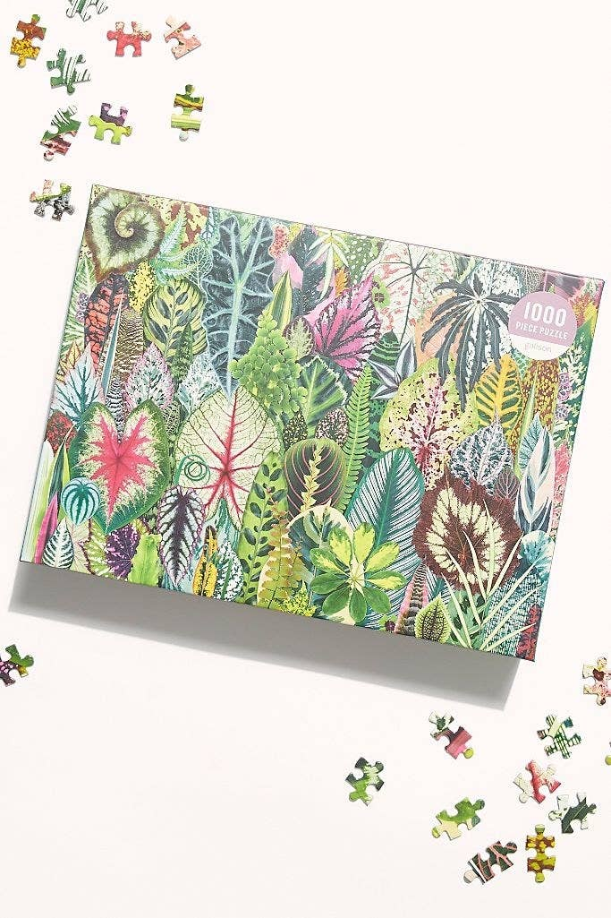 The puzzle that depicts a scene full of plants and flowers