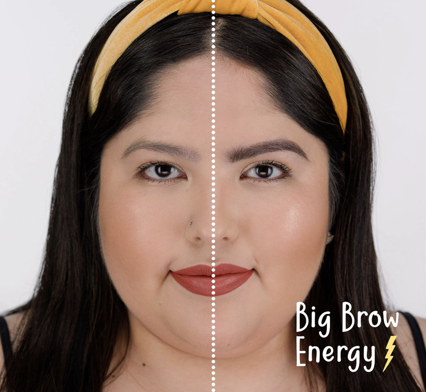 Model showing a before-and-after of her eyebrows looking much more full, dark, and precise