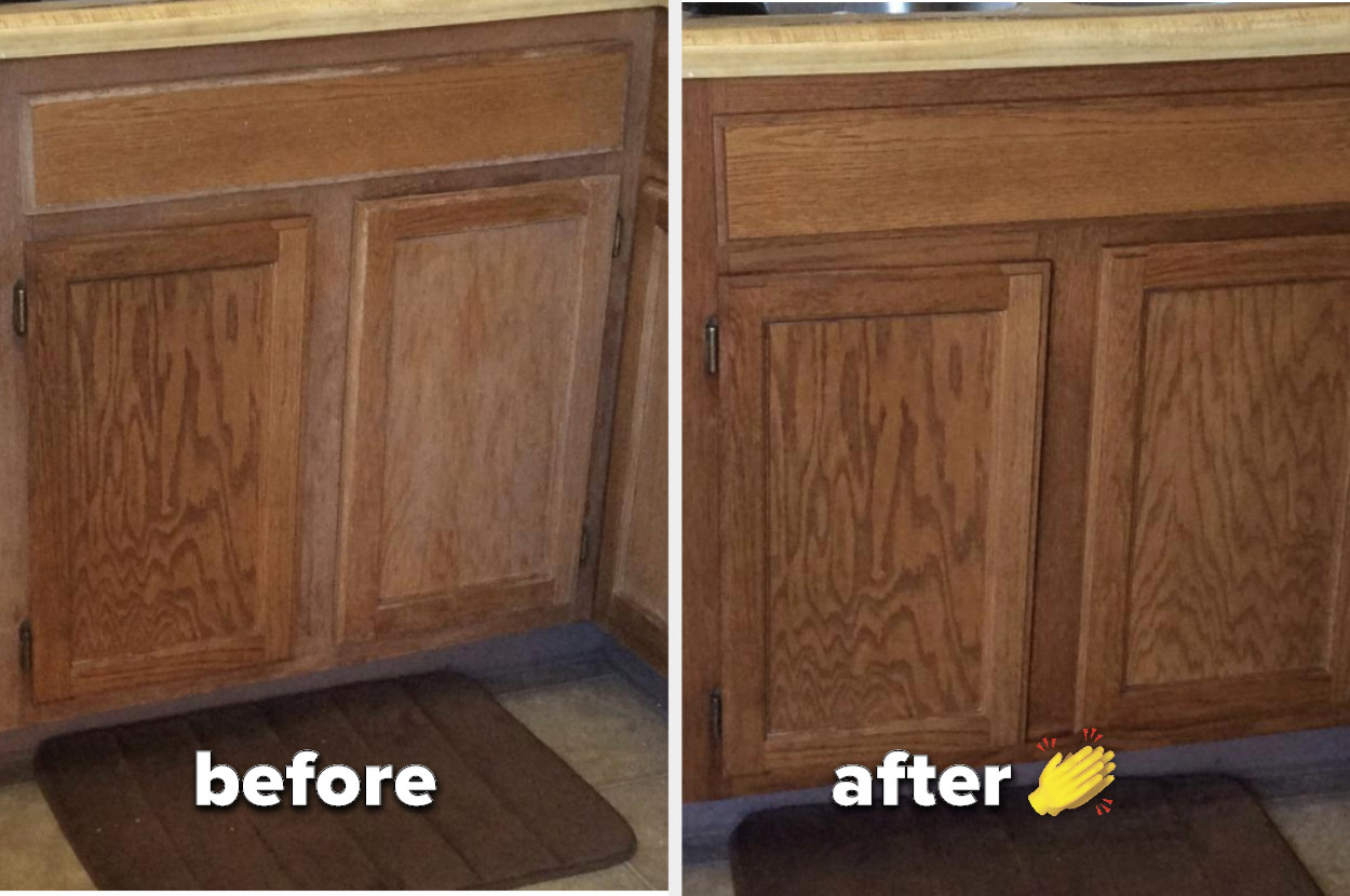 A damaged wood cabinet in a before pic, and an after pic without any scratches or wear and tear