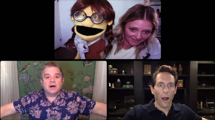 A fan of the show AP Bio showing a puppet to a shocked Patton Oswalt and Glenn Howerton