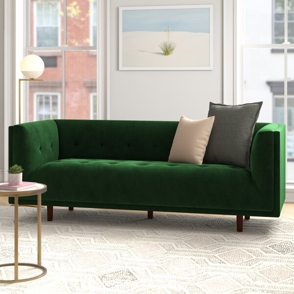 Conrad Velvet arm sofa in emerald green