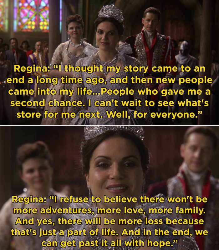 Regina telling everyone that she is grateful people gave her a second chance, she's happy to have a found family, and in the end, everyone can be happy with a little hope