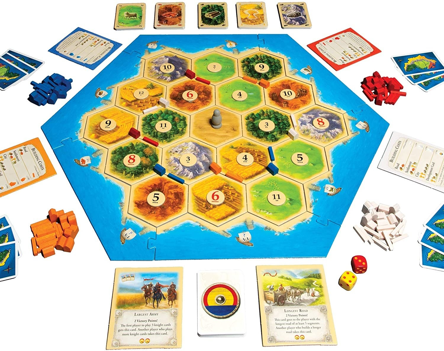 The board, cards, dice, and all the pieces included in Catan