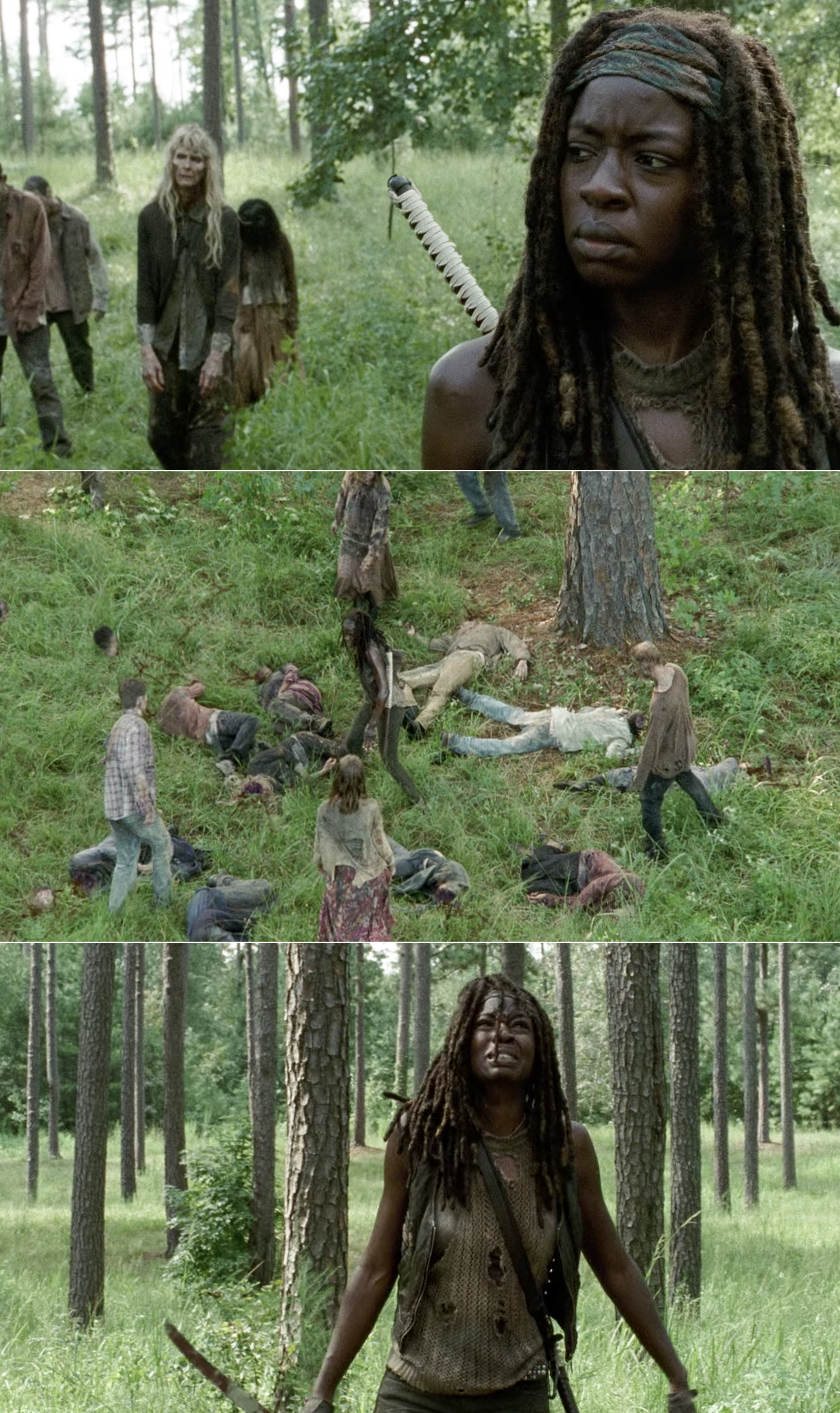 Michonne killing a hoard of walkers and then crying