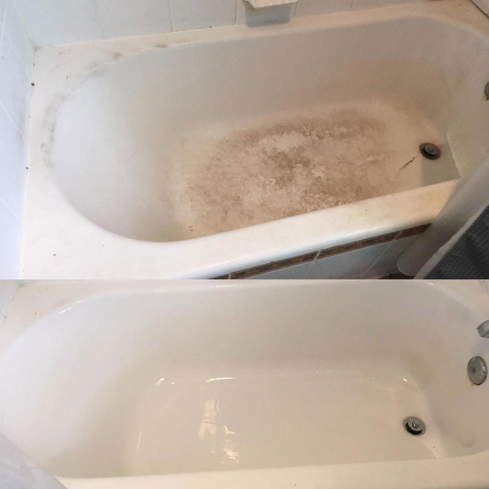 Top: A review photo of a dirty, stained; tub bottom: The after of the same tub, which is sparkling white