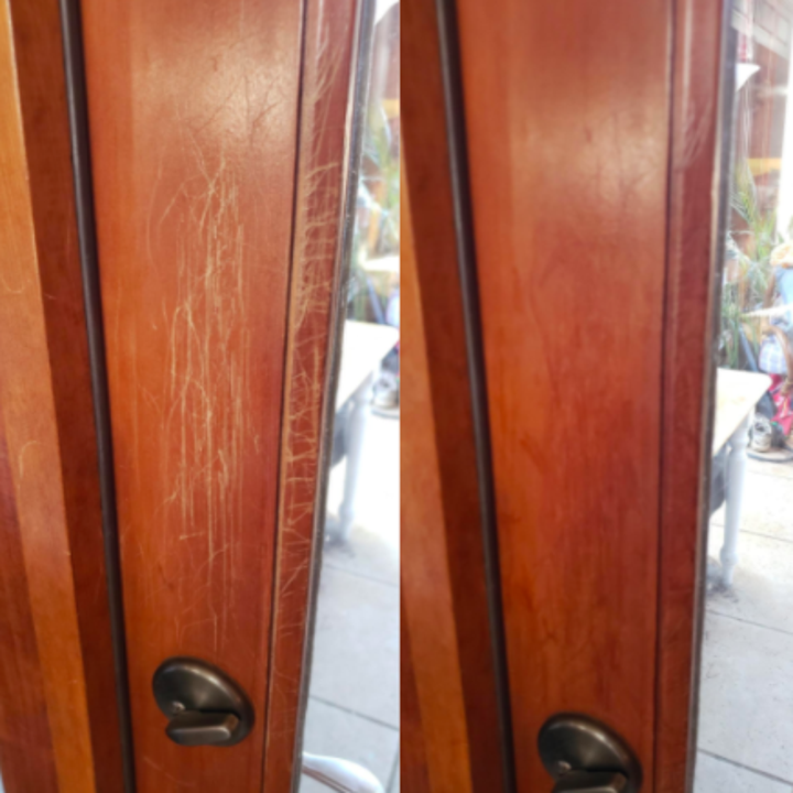 A before and after customer review photo of their door covered with scratches then not covered.
