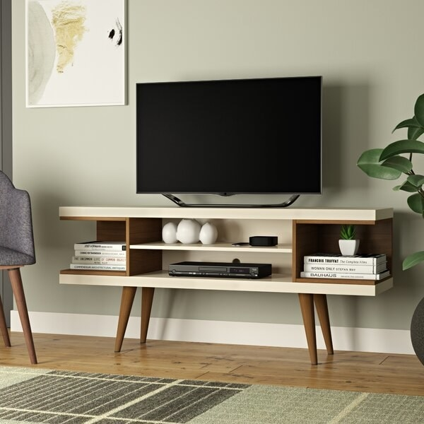 Lemington TV Stand for with two shelves and added storage in off-white