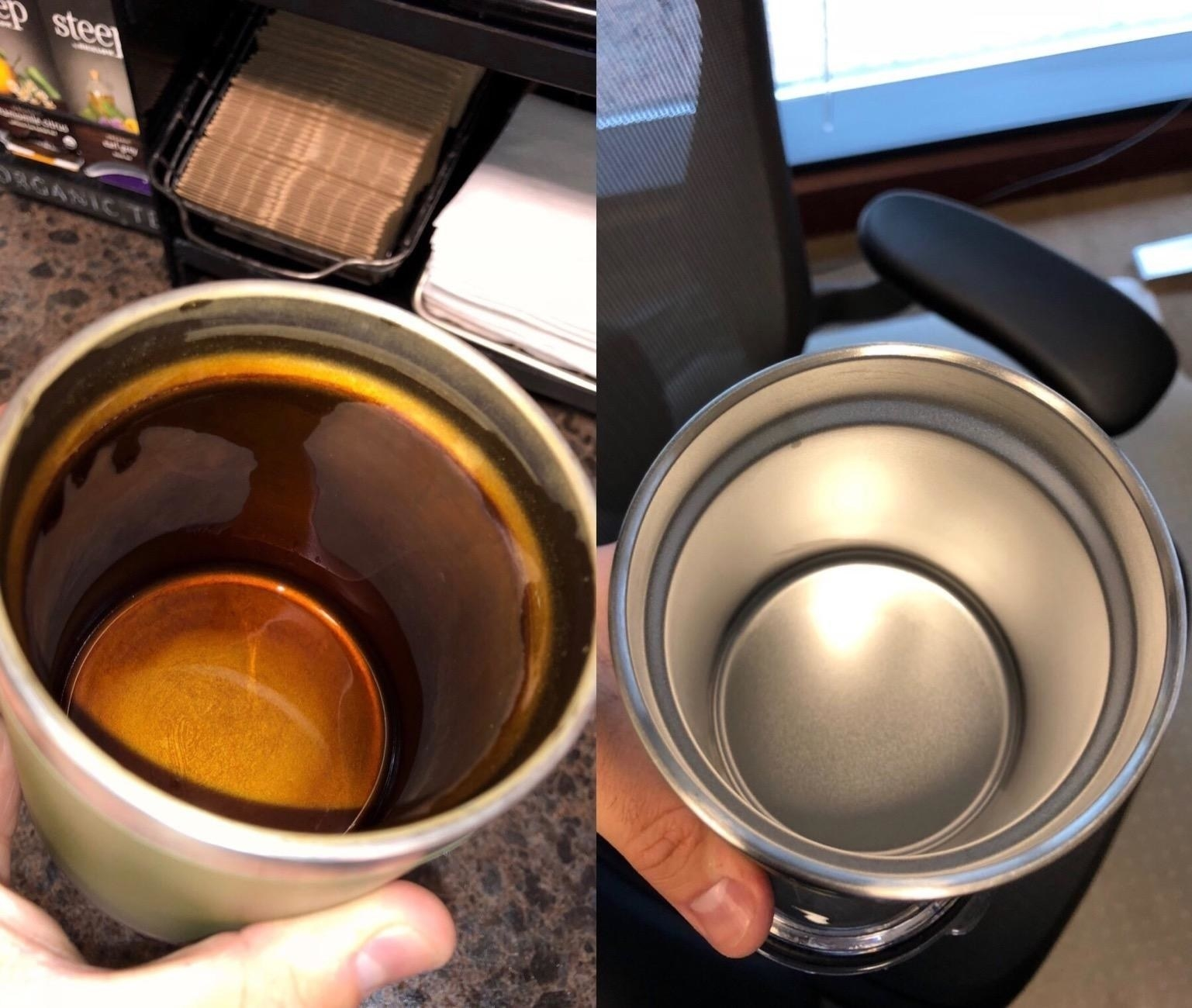 A stainless steel tumbler with baked-on coffee stains on the left, and the same cup totally clean on the right