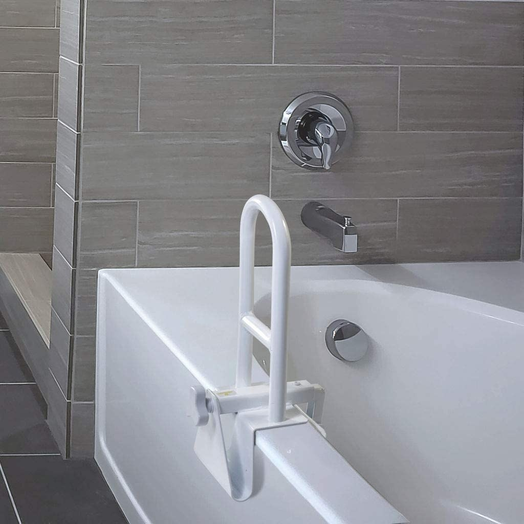 bathtub with white grab bar that clamps onto the side of the tub