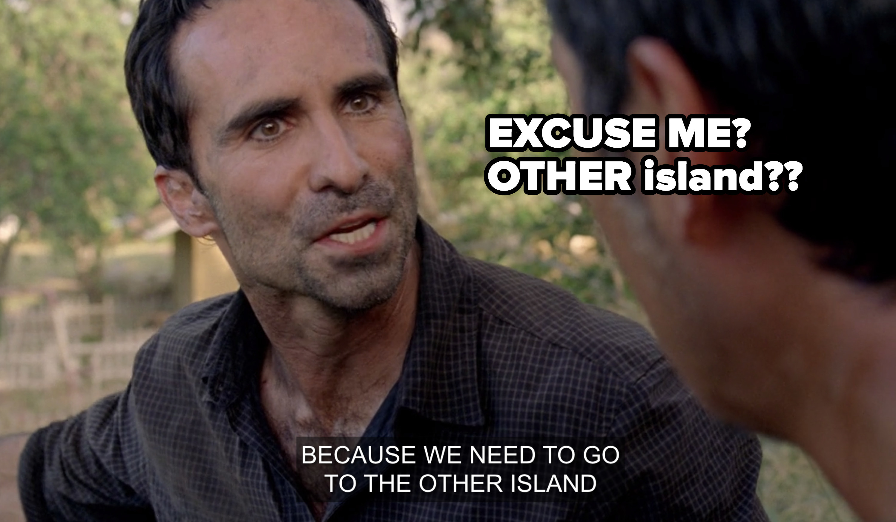 Characters talking about second island
