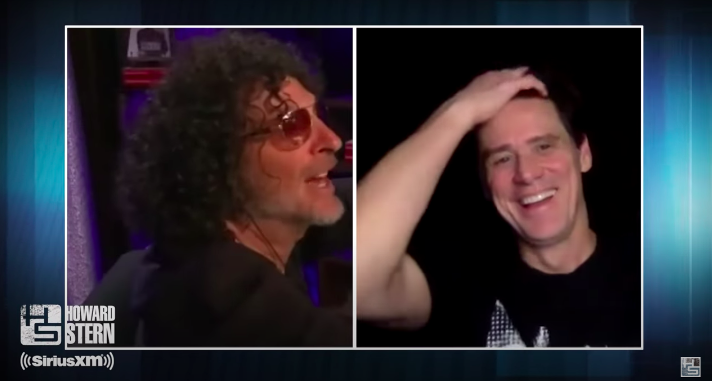 "A screen grab of Howard Stern and Jim Carrey during their interview on the ""Howard Stern Show."""
