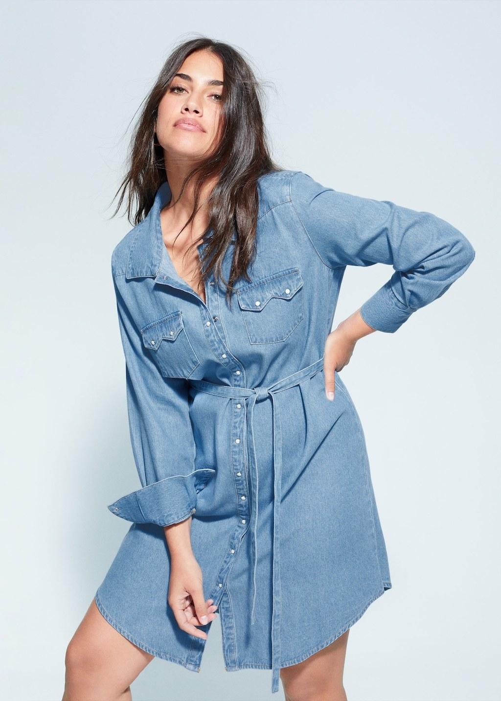 model wearing the light blue tie waist dress