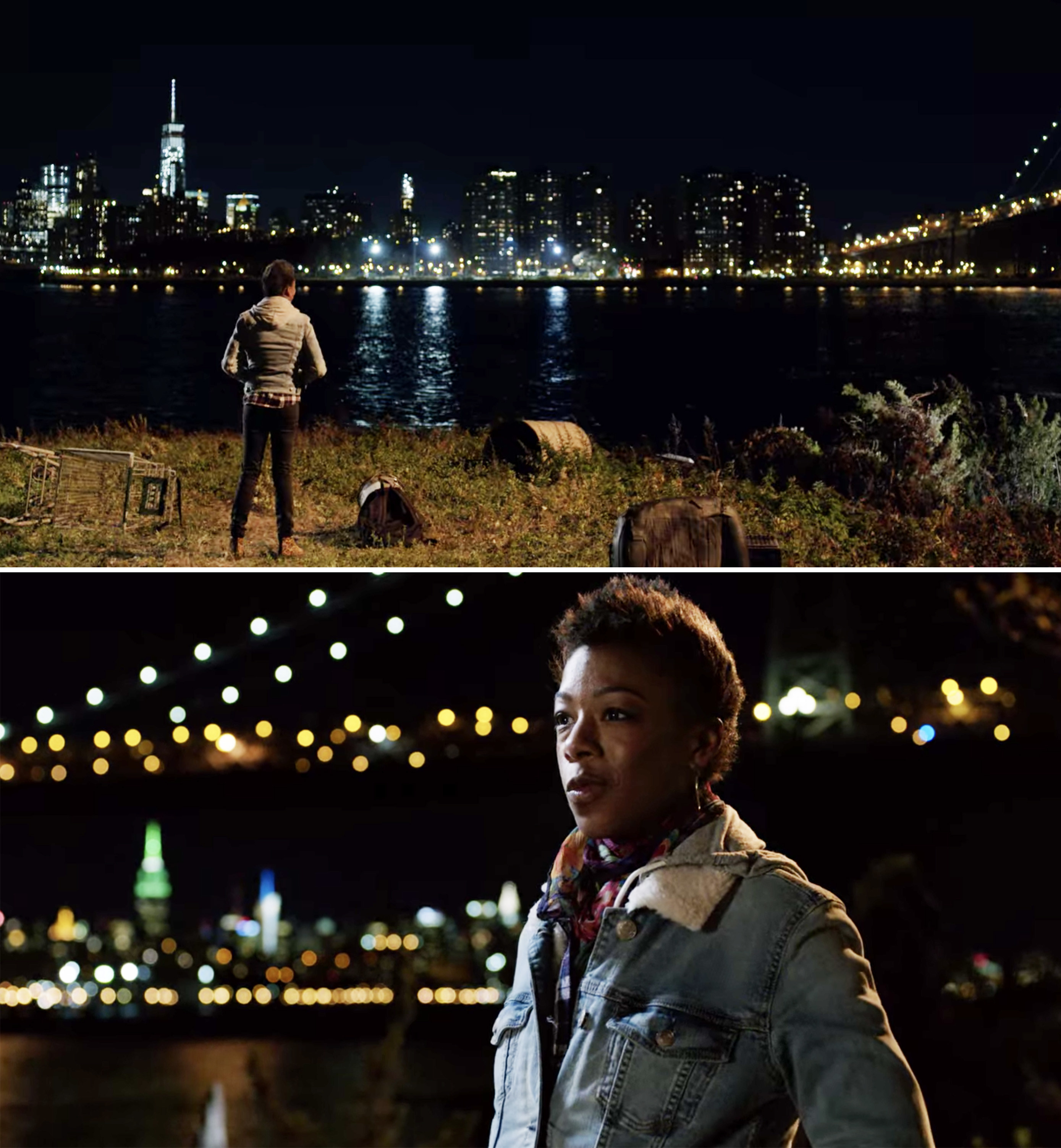 Poussey looking out at the Manhattan skyline