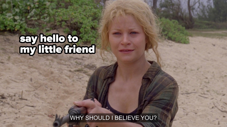Claire holding a gun