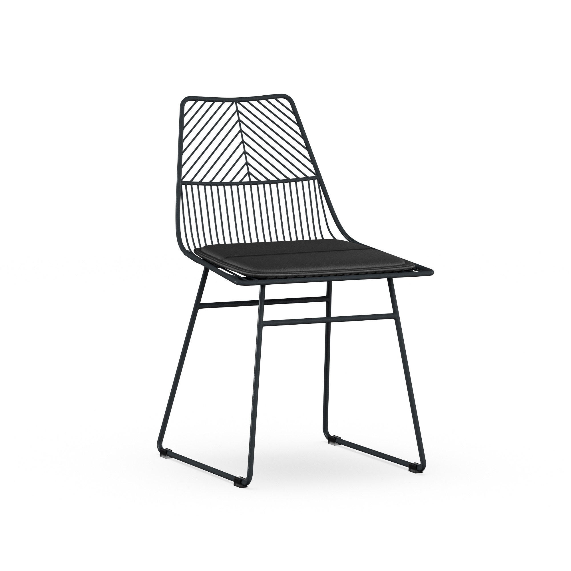 a black chair with a wired backing and thin metal legs