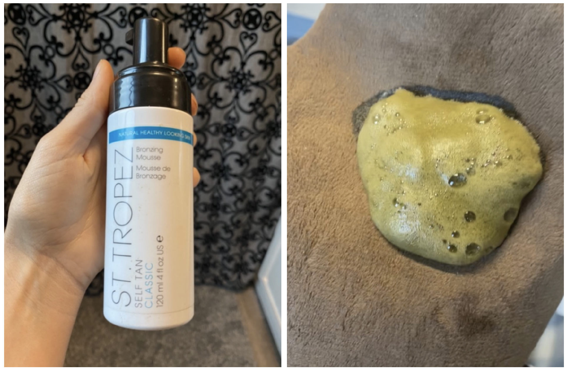 Photo of self tan bottle and the product which was watery and foamy.