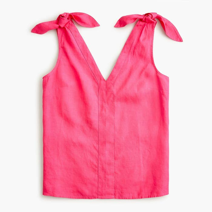 bright pink tank with knot closure on the shoulders