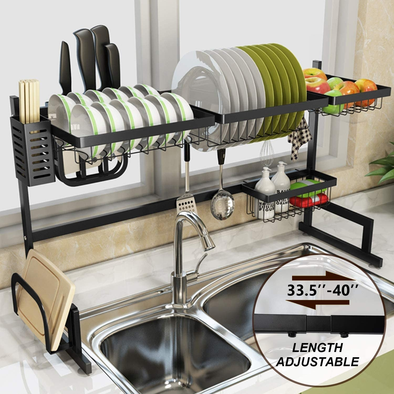 A black over the sink drying rack with different compartments for plates, bowls, cutlery, soap, cutting boards, and even fruit