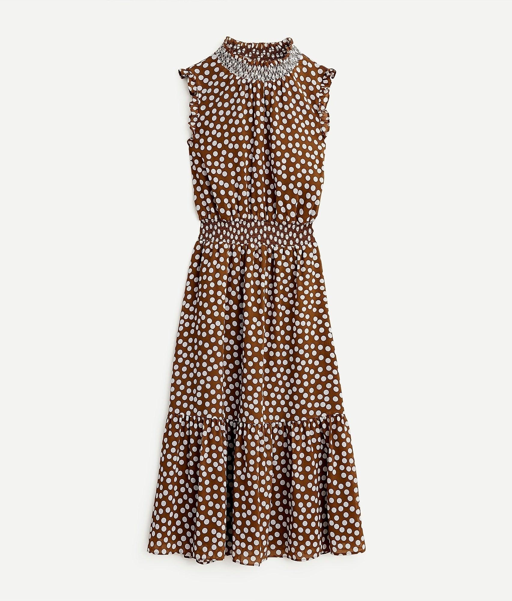 brown and tan polka dot sleeveless midi dress with high neck
