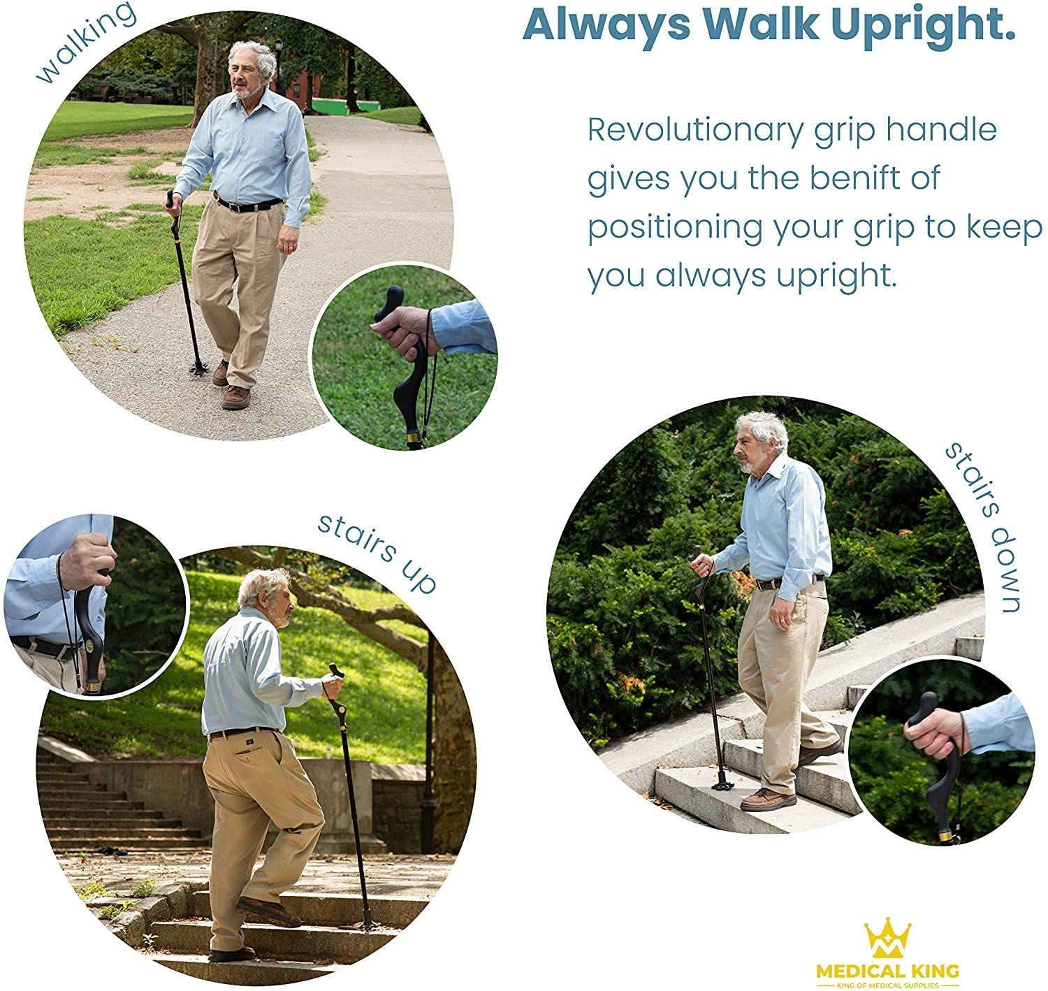 pics of older person walking up and down stairs, and on a flat sidewalk using the different parts of the top of the cane for support