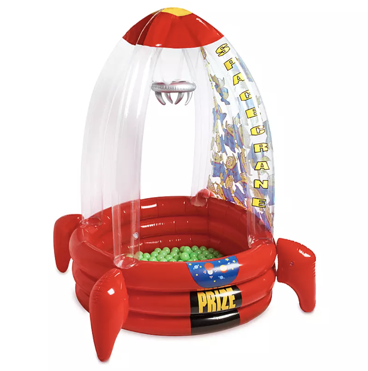 a rocket shaped ball pit with green balls in the middle