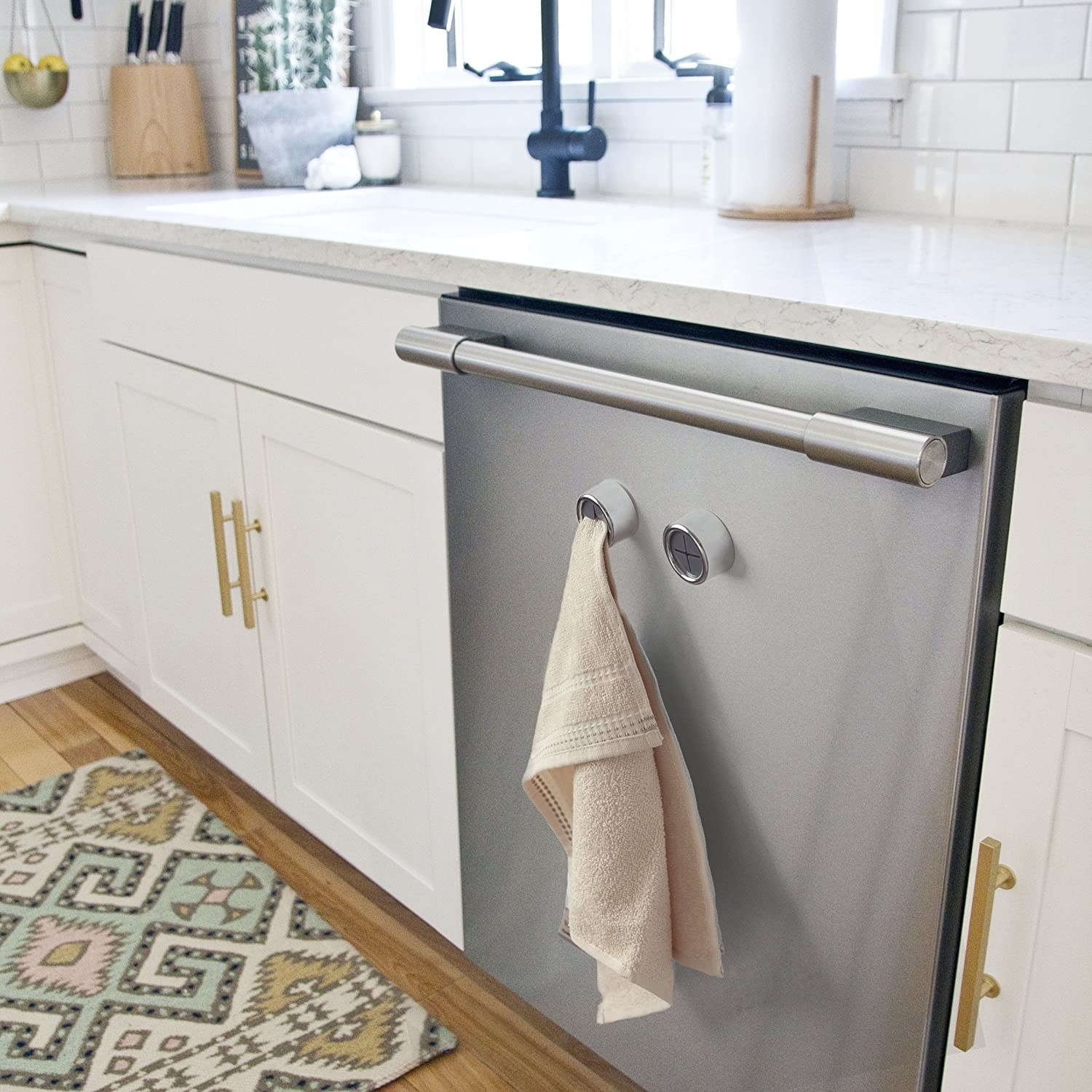 Towel hooks attached to a washing machine