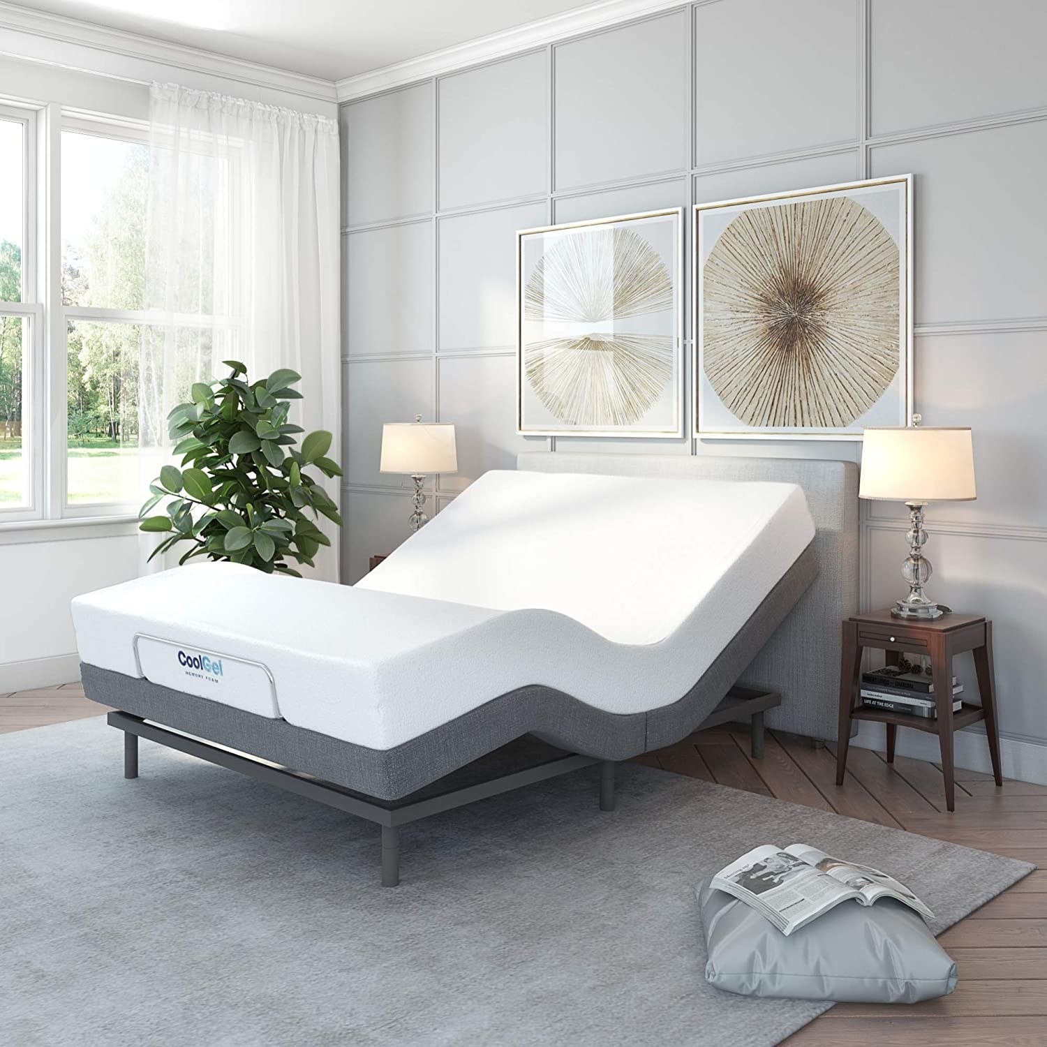 bedroom with gray bed base curved thanks to adjustable remote control bed base