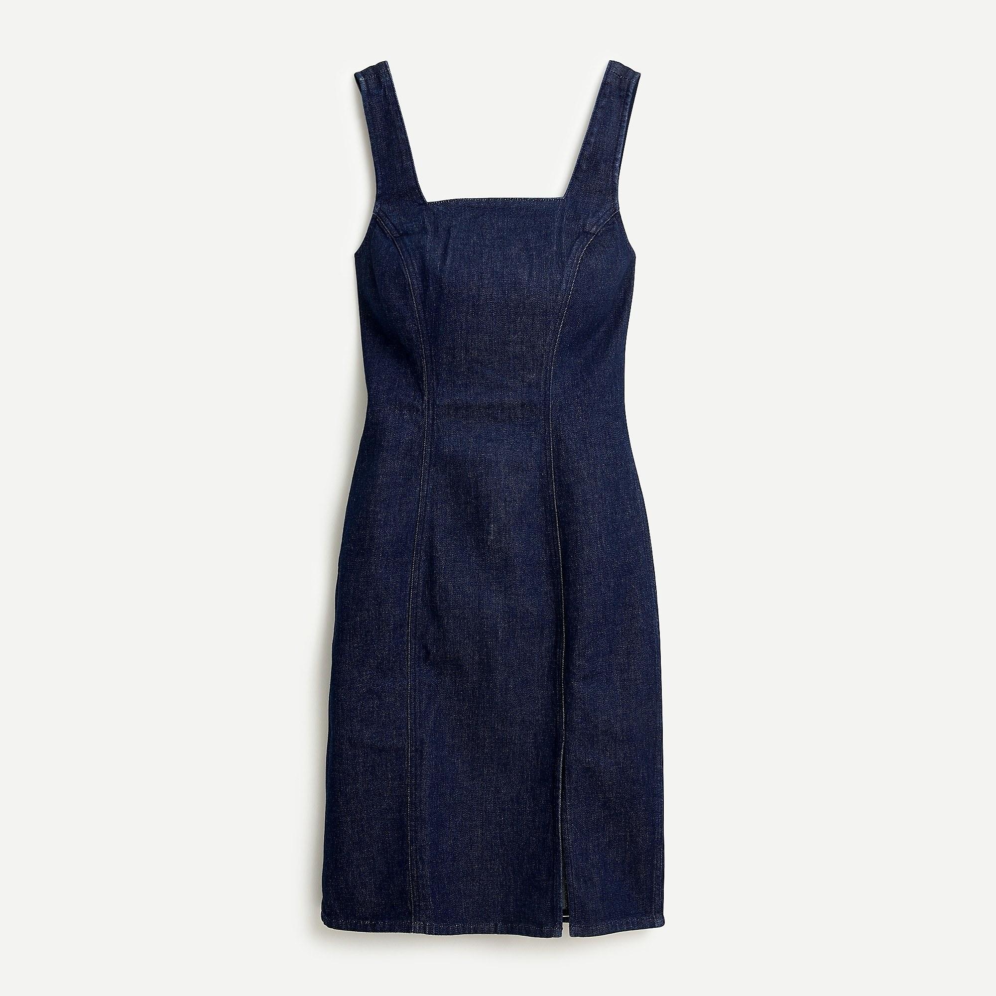 dark blue tight denim tank dress with small slit