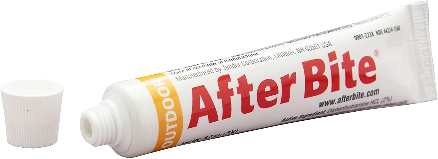 A tube of after bite with the cap open