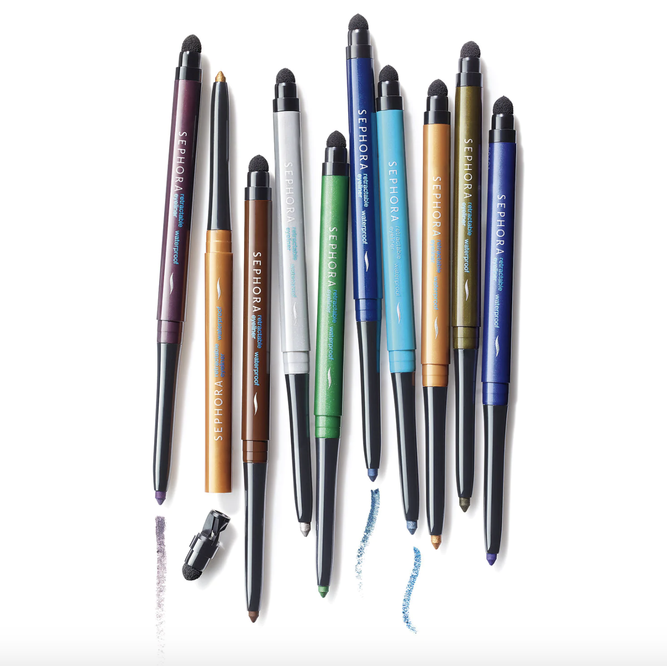 The eyeliners in various colors