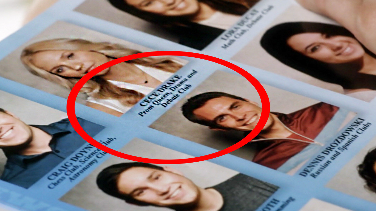 "CeCe's picture in the yearbook, ""prom queen"" circled"