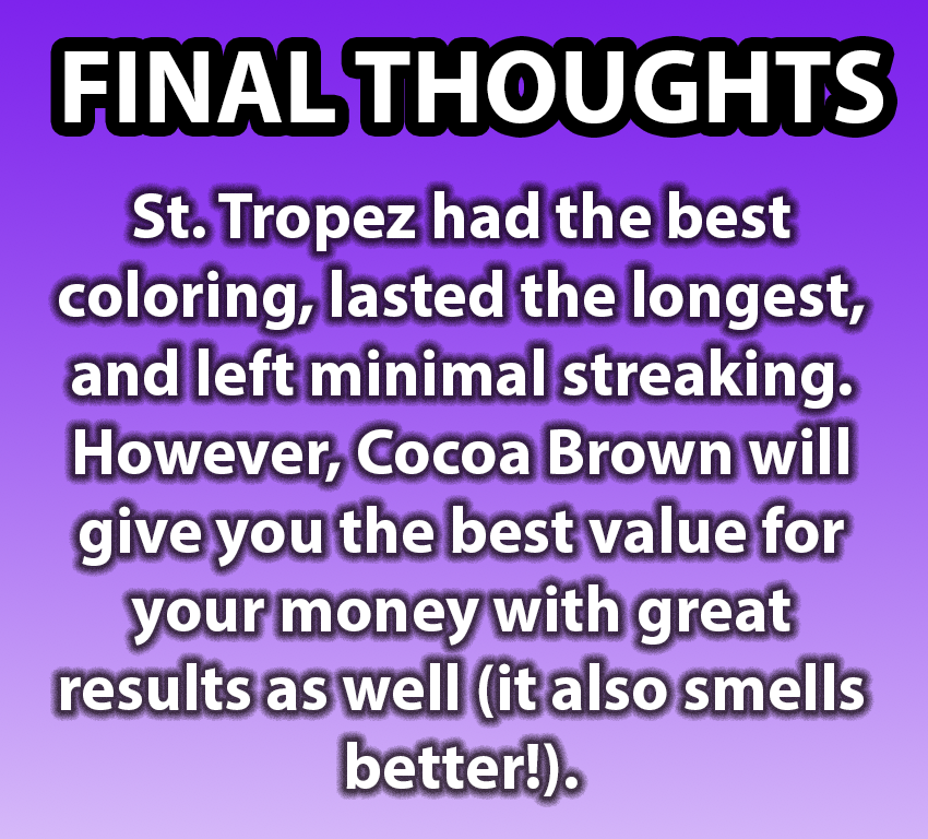 Final Thoughts: St. Tropez was Krista's favorite, but Cocoa Brown also gives you a good value for your money.