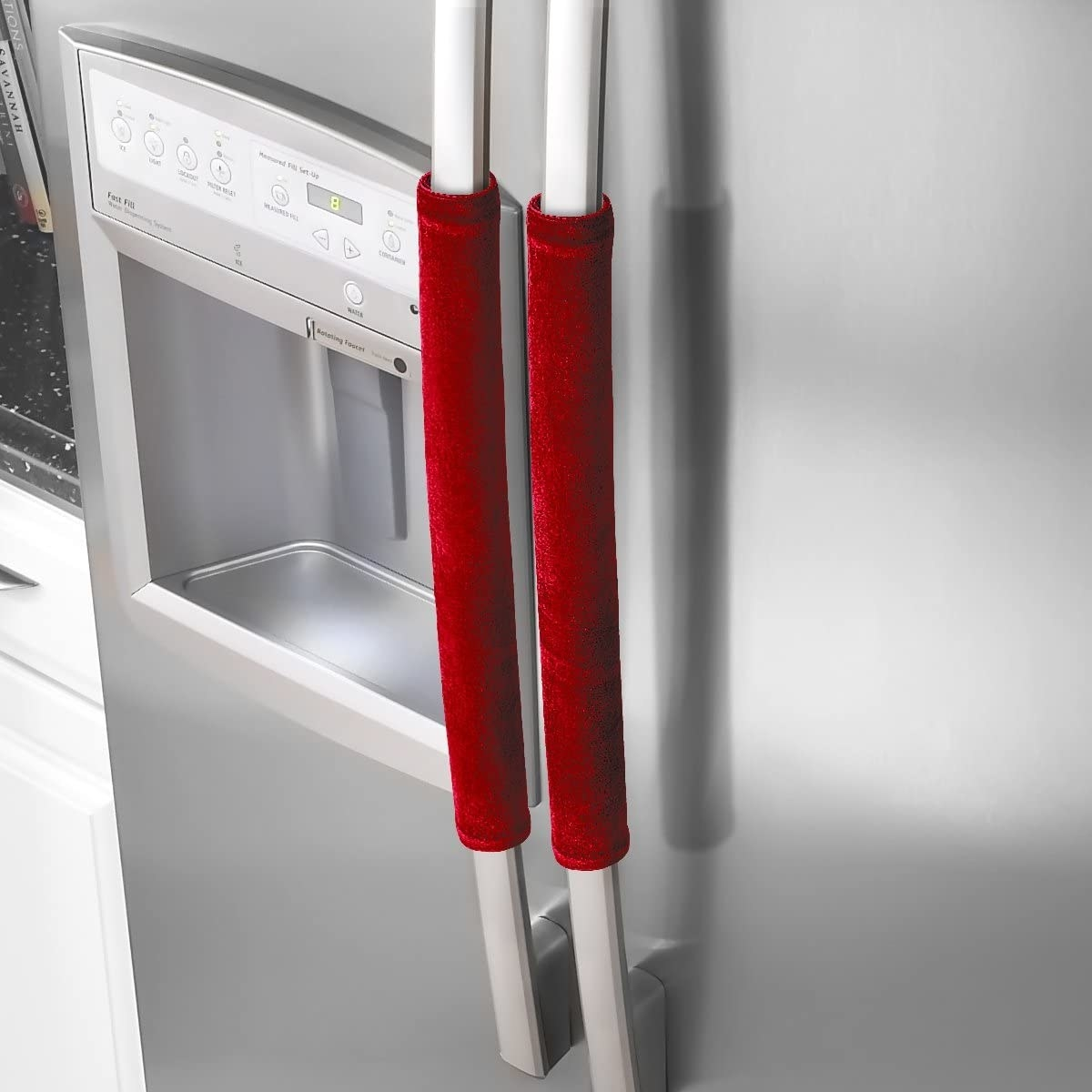 The door handle covers wrapped around two fridge door handles