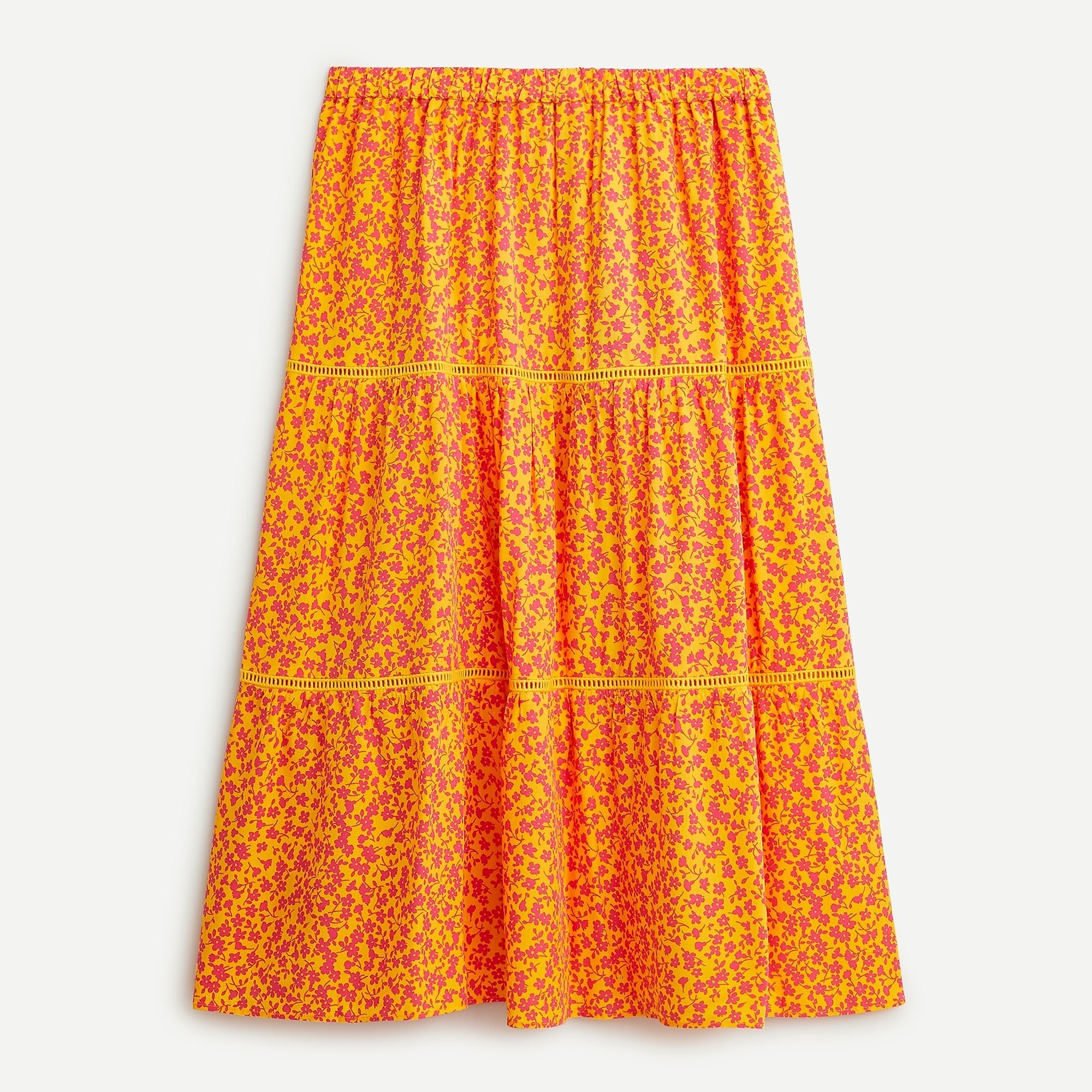 orange and red small floral print midi skirt