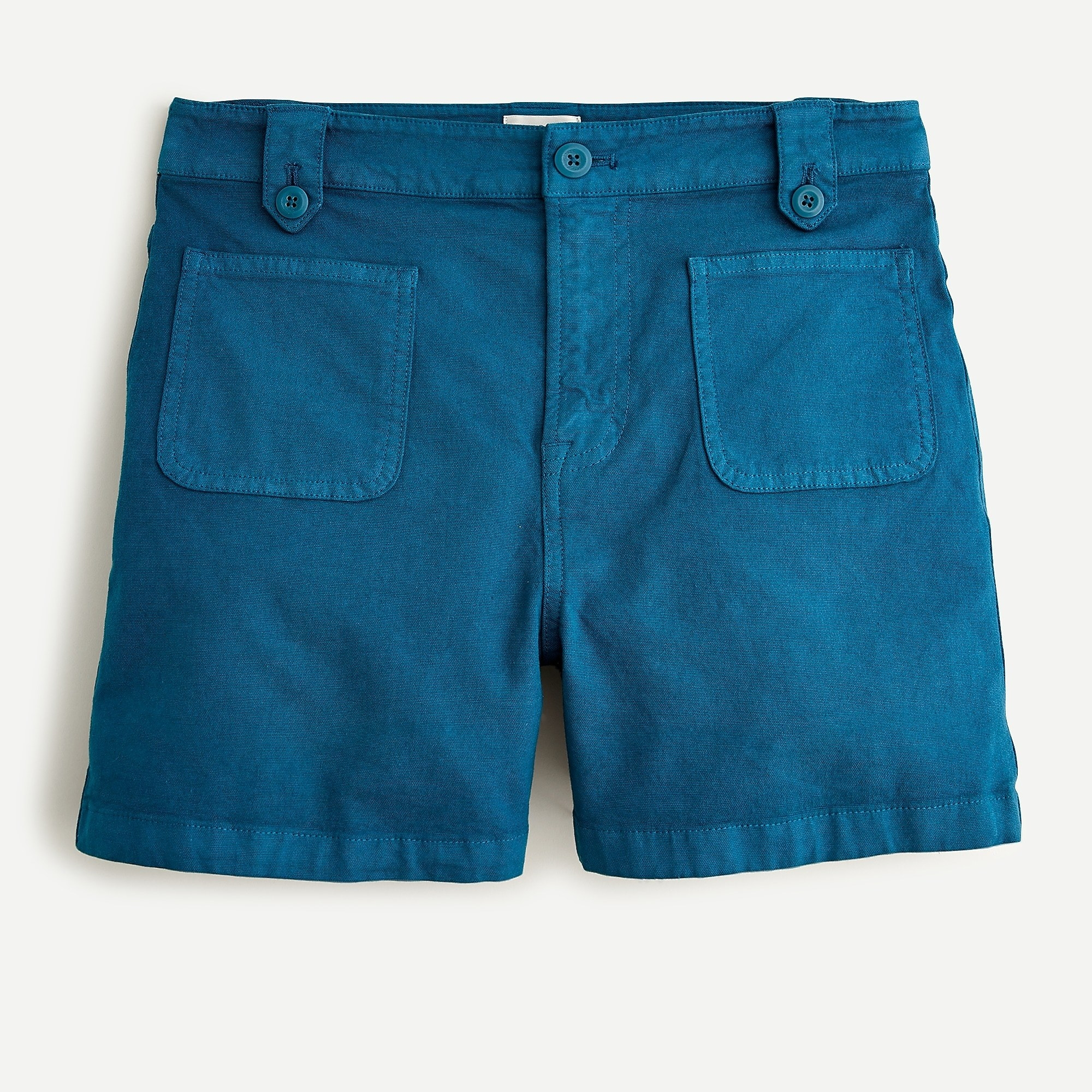 deep blue mid-length shorts with two front pockets and buttoned belt loops