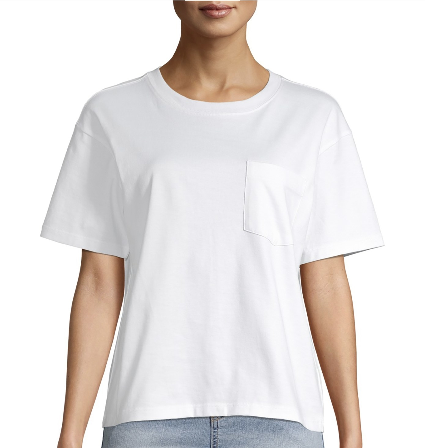 Model in the white T-shirt with chest pocket