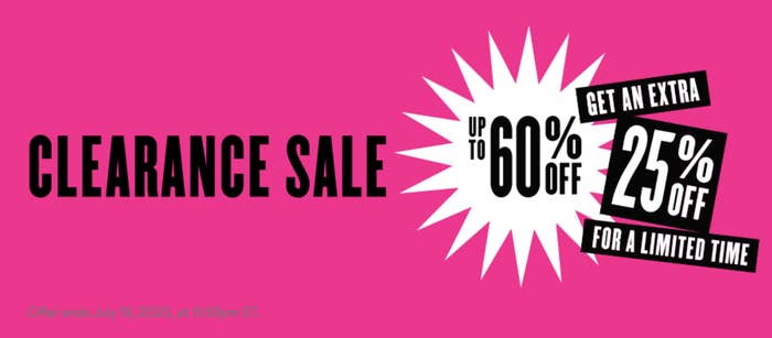 The sale banner, with up to 60% off, plus an extra 25% off