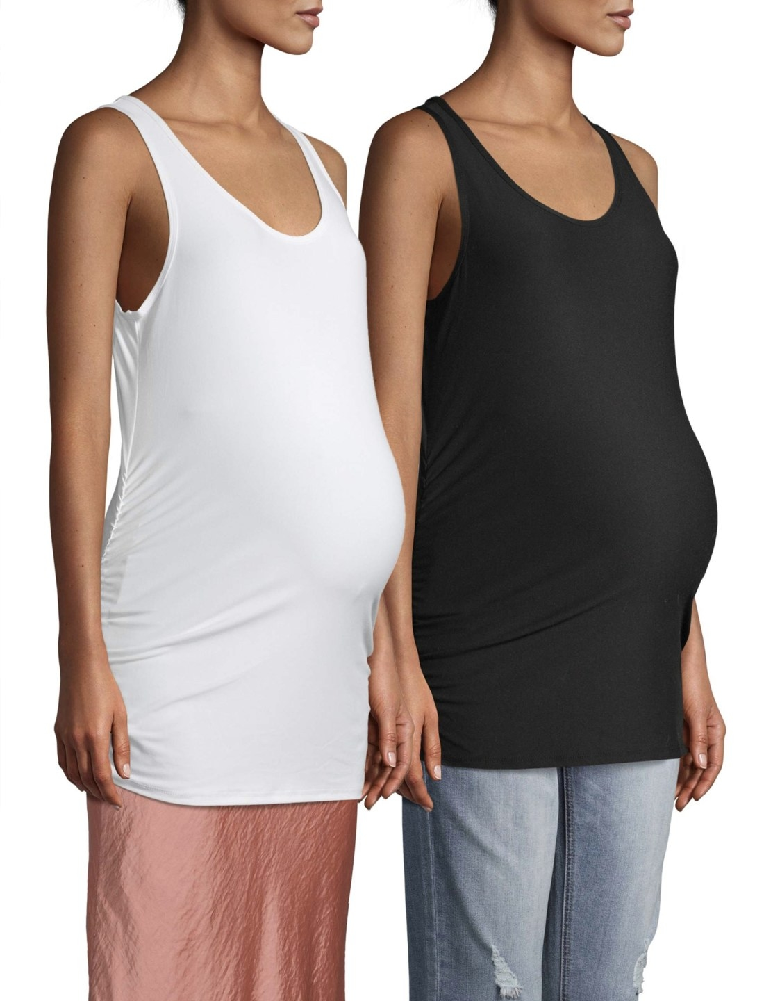 Pregnant models in the white and black tank tops