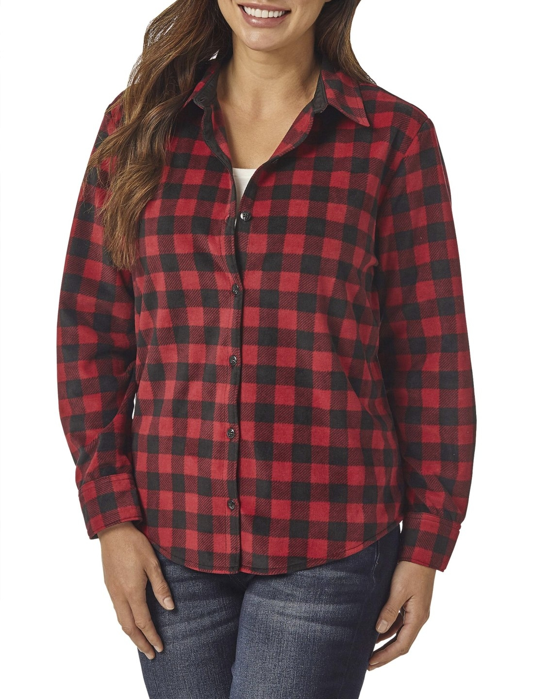Model in the red and black checked flannel