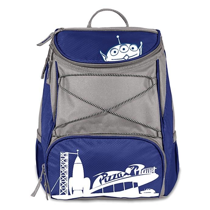 The gray, blue, and white backpack printed with the Pizza Planet building, a rocket, and an alien