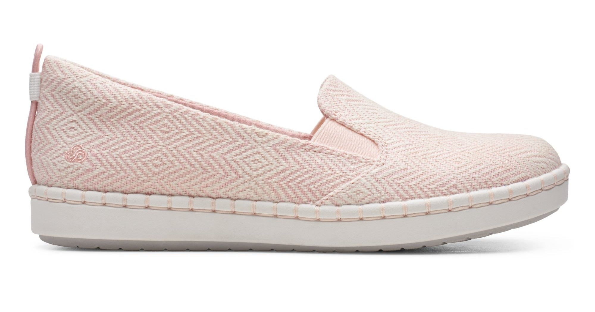 pink slip ons with gold metal threading