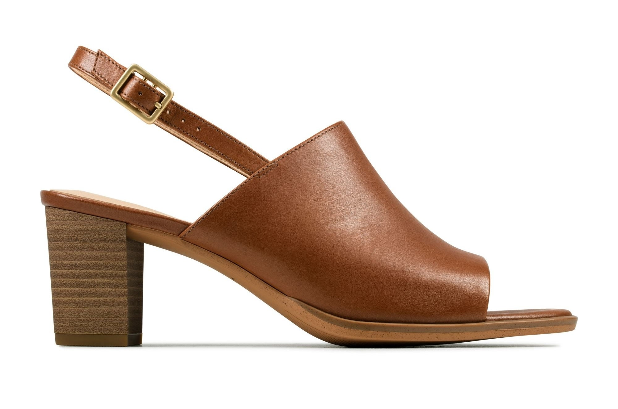 wooden high heeled sandals with sling back and brown large front and peep toe