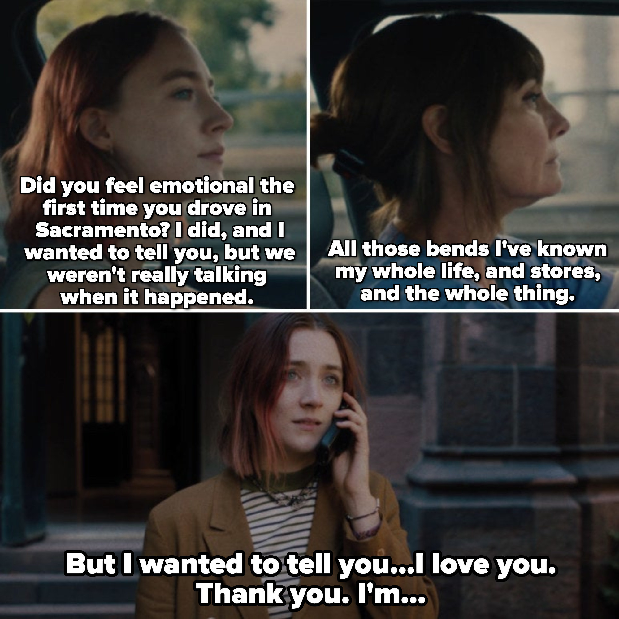 Lady Bird is standing outside of a New York City church, leaving a message on her cellphone for her mom; parallels of Lady Bird and her mom driving in Sacramento