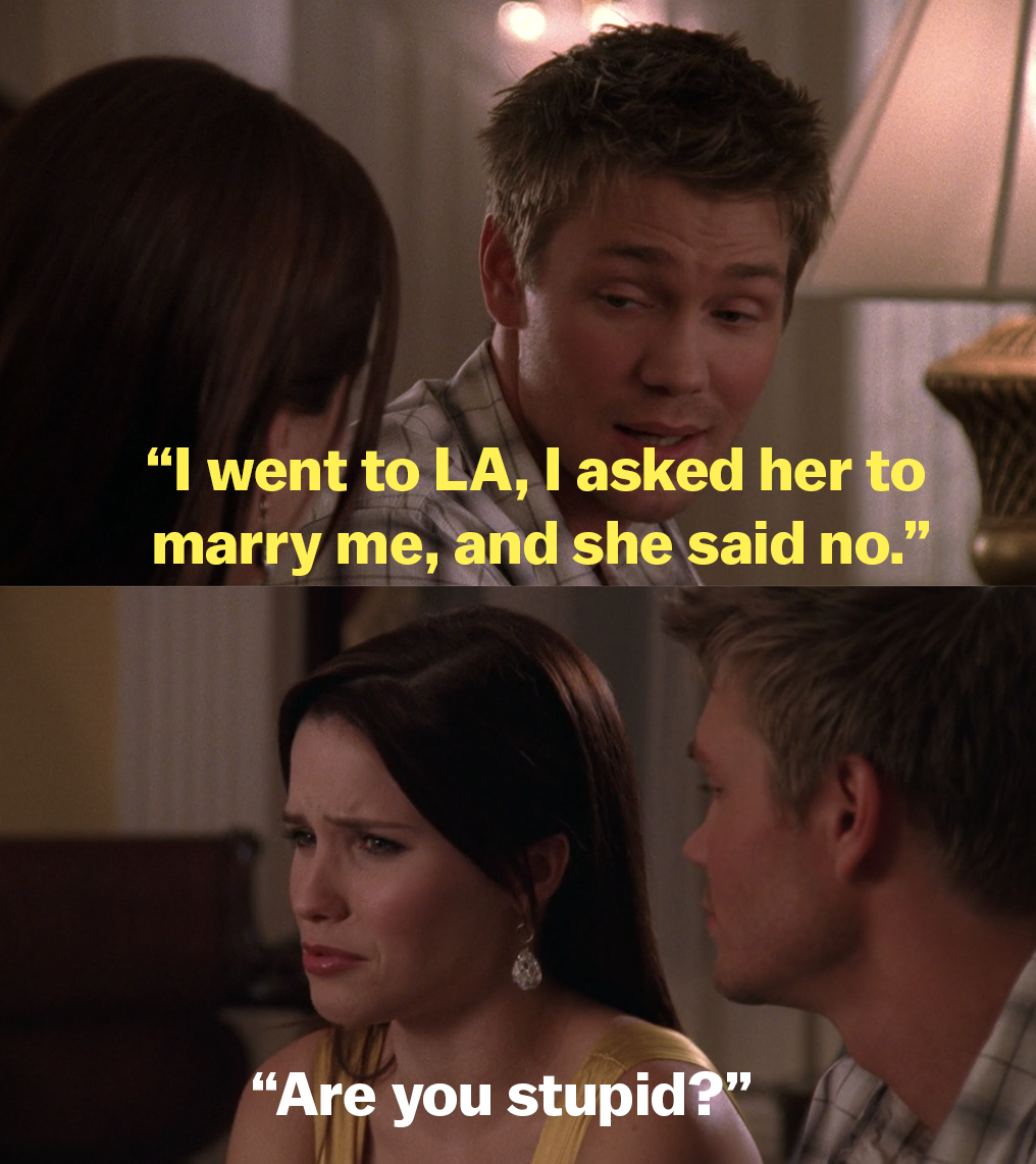 "Lucas tells Brooke he asked Peyton to marry him, and Brooke responds ""Are you stupid?"""