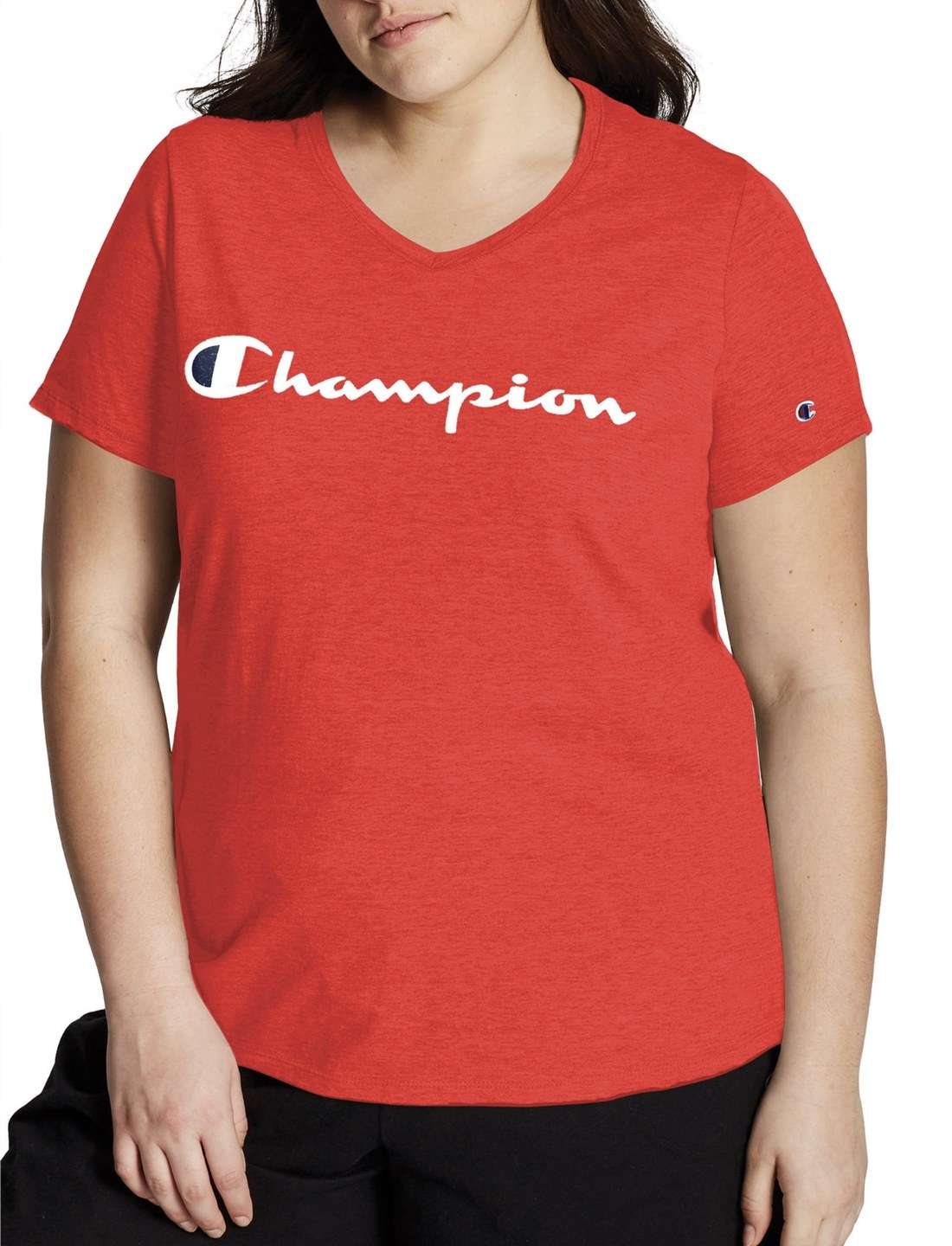 Model in the red Champion T-shirt
